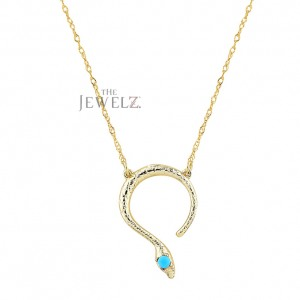 14K Gold 0.05 Ct. Genuine Turquoise Gemstone Snake Pendant Necklace Fine Jewelry