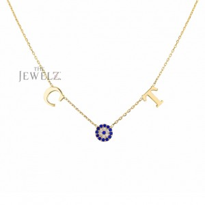 14K Gold Genuine Diamond-Blue Sapphire Initial Alphabet Disc Pendant Necklace