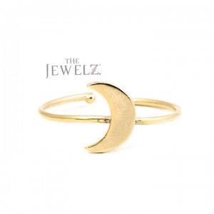 14K Solid Gold Crescent Moon Open Cuff Minimalist Ring Fine Jewelry Size-3 to 8