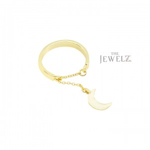 14K Solid Gold Dangling Crescent Moon Chain Band Ring Fine Jewelry Size-3 to 8US