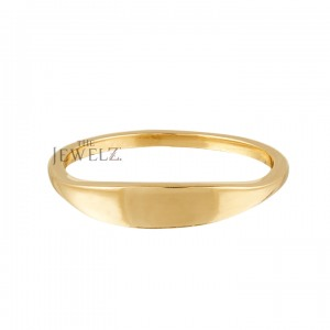 14K Solid Gold Personalized Engraving Signet Ring Gift For Her Size-3 to 8 US