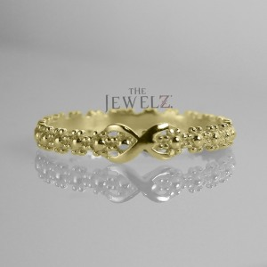 14K Solid Gold Beaded Flower Infinity Knot Statement Ring Fine Jewelry