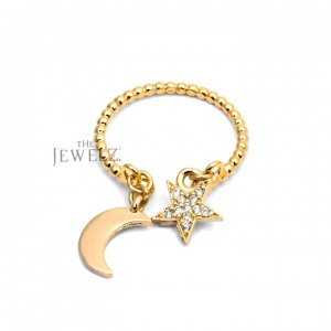 14K Gold Beaded 0.10 Ct. Genuine Diamond Dangling Star Moon Ring Fine Jewelry