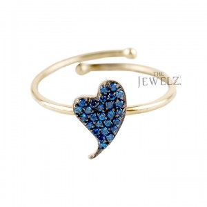 14K Gold 0.35 Ct. Genuine Blue Sapphire Gemstone Unique Heart Ring Gift For Her