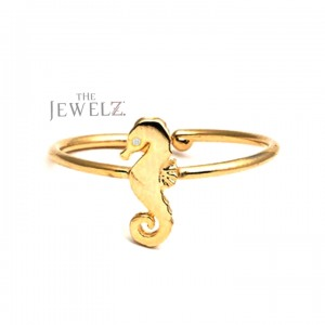 14K Gold 0.01 Ct. Genuine Diamond Seahorse Design Bypass Ring Fine Jewelry Gift