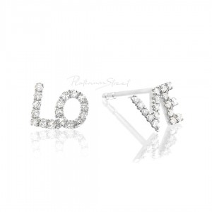 950 Platinum 0.17 Ct. Genuine Diamond Love Studs Earrings Fine Jewelry