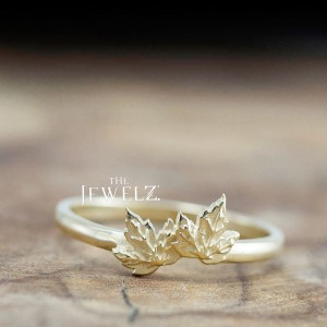 14K Solid Gold Leaf Design Unique Texture Handmade Ring Fine Jewelry