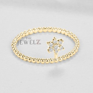 14K Gold Beaded 0.08 Ct. Genuine Diamond Flower Ring Fine Jewelry Birthday Gift