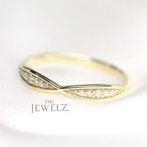 14K Gold 0.12 Ct. Genuine Diamond Delicate Bow Stacking Ring Fine Jewelry