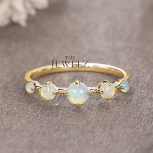 14K Gold Genuine Opal October Birthstone Minimalist Ring Gift For Her Jewelry