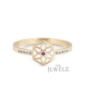 14K Gold Genuine Diamond-Ruby July Birthstone Sun Flower Ring Fine Jewelry