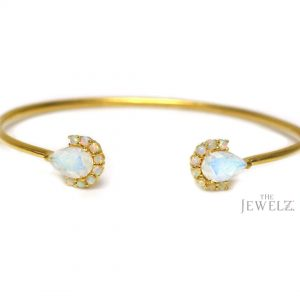 14K Gold Genuine Opal And Rainbow Moonstone Cuff Bangle Bracelet Fine Jewelry