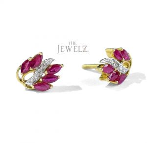 14K Gold Genuine Diamond-Ruby Gemstone Leaf Floral Earrings Christmas Gift