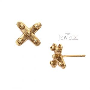 14K Solid Gold Mini X Studs Earrings Birthday Gift For Her