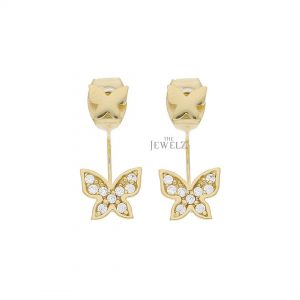 14K Gold 0.27 Ct. Genuine Diamond Butterfly Jacket Earrings Anniversary Gift