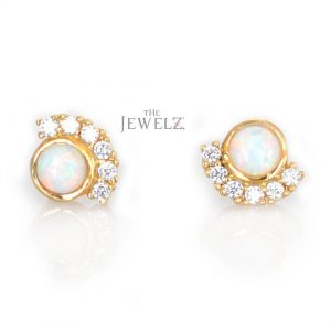 14K Gold Genuine Diamond And Opal Gemstone Half Moon Studs Earrings Gift For Her