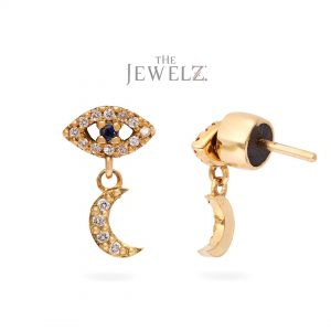14K Gold Genuine Diamond And Blue Sapphire Evil Eye Crescent Moon Drop Earrings
