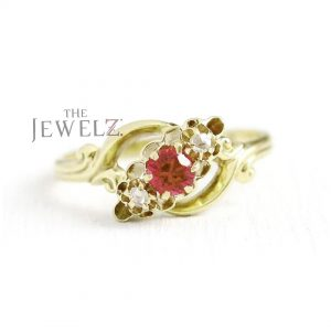 14K Gold Genuine Diamond and Ruby Gemstone Floral Ring Thanksgiving Gift