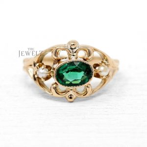 14K Gold Genuine Emerald And Freshwater Pearl Vintage Style Ring Fine Jewelry
