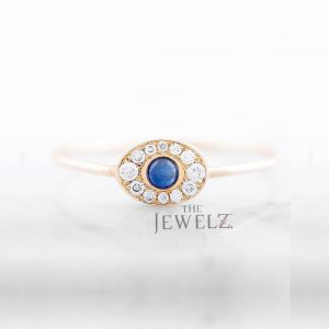 14K Gold Genuine Diamond and Blue Sapphire Oval Face Stacking Ring Fine Jewelry
