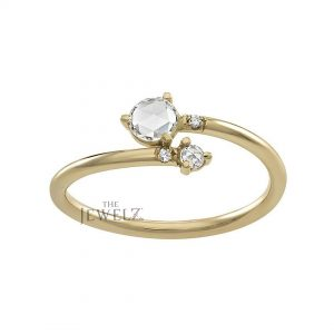 14K Gold 0.25 Ct. Genuine Rose Cut Diamond Bypass Delicate Ring Gift For Her