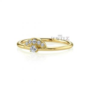 14K Gold 0.18 Ct. Genuine Diamond Crown Shape Stacking Ring Fine Jewelry