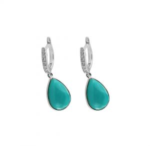14K White Gold Genuine Diamond And Turquoise Gemstone Drop Hoop Earrings Jewelry