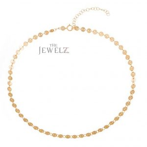 14K Solid Gold Discs Charms Choker Necklace Thanksgiving Gift Fine Jewelry