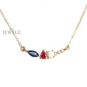 14K Gold Genuine Diamond Ruby Opal Blue Sapphire Cluster Pendant Necklace Gift