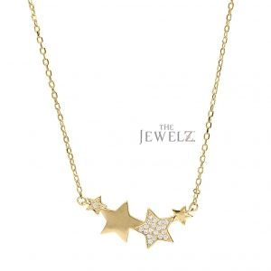 14K Gold 0.15 Ct. Genuine Diamond Star Charms Necklace Christmas Gift