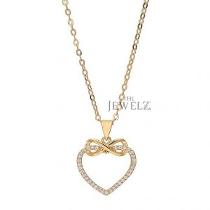 14K Gold 0.20 Ct. Genuine Diamond Heart Infinity Knot  Pendant Necklace For Her