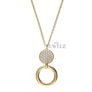 14K Gold 0.18 Ct. Genuine Diamond Disc and Circle Pendant Necklace Fine Jewelry