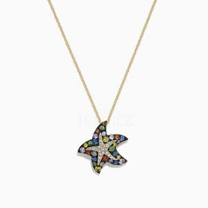 14K Gold Two Tone Genuine Diamond and Multi Sapphire Starfish Pendant Necklace