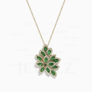 14K Gold Genuine Diamond-Emerald Gemstone Leaf Petals Pendant Christmas Jewelry