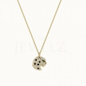 14K Gold Genuine Diamond and Emerald Gemstone Leopard Pendant Necklace Jewelry