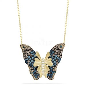 14K Gold Genuine White, Blue and Salt-Pepper Diamond Butterfly Pendant Necklace