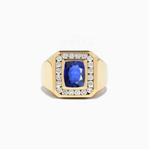 14K Gold Genuine Diamond And Blue Sapphire Gemstone Signet Ring Jewelry Gift