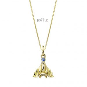 14K Gold Genuine Diamond-Blue Sapphire Bat Pendant Necklace Halloween Gift