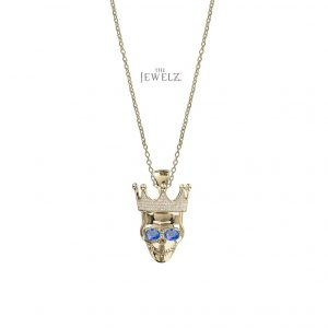 14K Gold Genuine Diamond-Blue Sapphire King Of Rock Pendant Necklace Jewelry