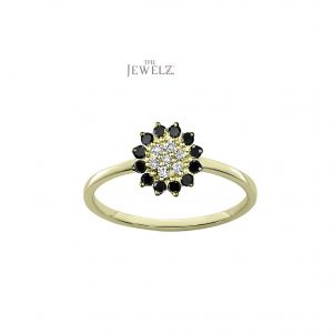 14K Gold 0.40 Ct. Genuine White-Black Diamond Flower Design Ring Fine Jewelry