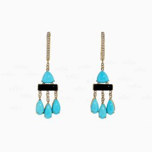 14K Gold Genuine Diamond Turquoise Black Onyx Huggie Drop Earrings Fine Jewelry