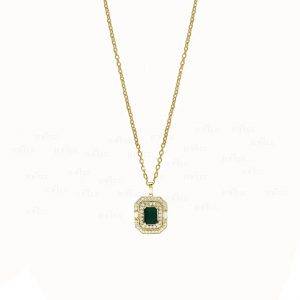 14K Gold Genuine Diamond-Emerald Gemstone Halo Pendant Necklace Wedding Jewelry