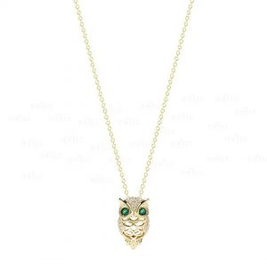 14K Gold Genuine Diamond-Emerald Gemstone Owl Pendant Necklace Christmas Gift