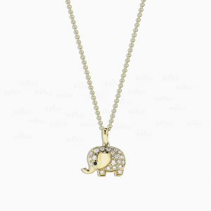 14K Gold 0.20 Ct. Genuine White-Black Diamond Elephant Pendant Necklace Gift