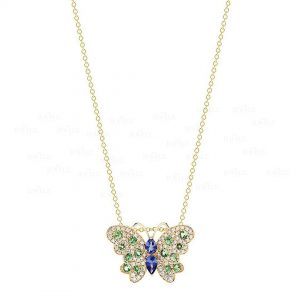 14K Gold Genuine Diamond Emerald Blue Sapphire Butterfly Pendant Necklace