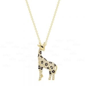 14K Gold Genuine White Black Champagne Diamond Giraffe Pendant Necklace