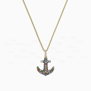 14K Gold Genuine Diamond-Multi Sapphire Gemstone Anchor Pendant Necklace