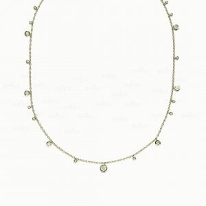 14K Gold 0.70 Ct. Genuine VS Clarity Diamond Choker Necklace Fine Jewelry