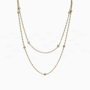 14K Gold 0.40 Ct. Genuine VS Clarity F-G Diamond Two Layer Choker Necklace