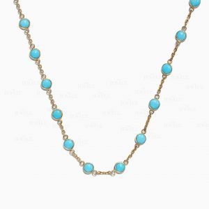 14K Gold 3.50 Ct. Genuine Turquoise December Birthstone Choker Necklace Jewelry